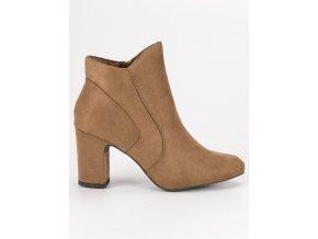 Elegantné topánky béžové členkové čižmy so semišu Kylie K1809810TA