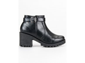Čierne dámske topánky s hrubou podrážkou CnB