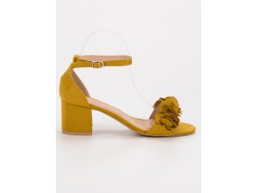 Semišové žlté sandále s kvetmi Nio Nio
