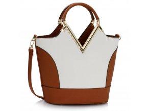 Shopper kabelka do ruky Bertie A hnedá / biela LS00379A