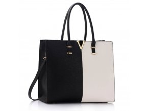 Shopper kabelka do ruky Monica C čierna / biela LS00319C