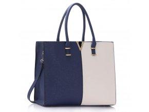 Shopper kabelka do ruky Monica C námornícka / biela LS00319C