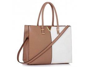 Shopper kabelka do ruky Monica C telová / biela LS00319C