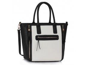 Shopper kabelka do ruky Selina čierna / biela LS00133