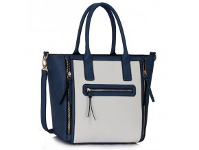 Shopper kabelka do ruky Selina námornícka / biela LS00133