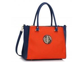 Trendová kabelka do ruky Bretta modrá / oranžová LS00408