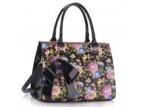 Trendová kvetinová kabelka do ruky Abbie čierna LS00374