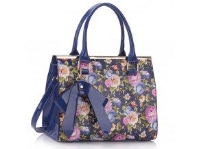 Trendová kvetinová kabelka do ruky Abbie modrá LS00374