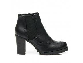 Čierne kotníkové topánky s vysokým opätkom 8f8539-1B VEĽ.Č. 37 (Veľkosť UK2 / EUR 35)