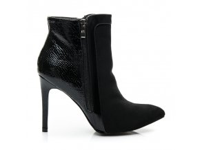 Čierne topánky na vysokom opätku L899B / S2-67P veľ.č. 38, 40 (Veľkosť UK7 / EUR 40)