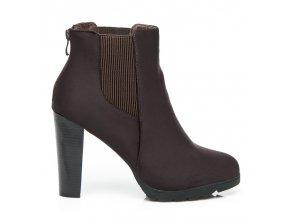 Hnedá členková obuv s vysokým opätkom 52145BR / S1-57P veľ.č. 38 (Veľkosť UK6 / EUR 39)