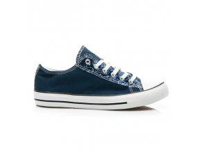 Modré plátené tenisky H-17D.BL /S3-125P veľ.č. 36, 37 (Veľkosť UK5 / EUR 38)