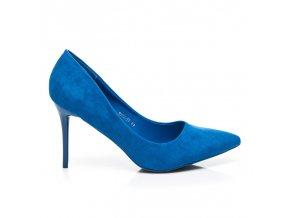 Semišové modré lodičky 1029-11BL veľ.č. 39 (Veľkosť UK7 / EUR 40)