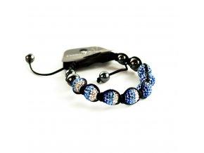Modro strieborný náramok Shamballa
