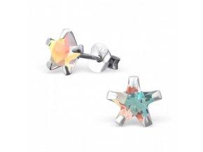 Strieborné náušnice hviezdy - 925 ab cz kryštál levander MS9526