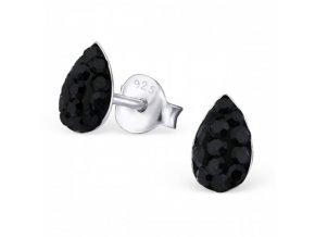 Strieborné náušnice kvapky - 925 cz čierny kryštál MS19631