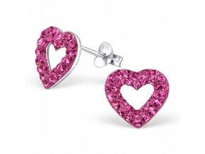 Strieborné náušnice srdcia - 925 cz ružový kryštál MS5329