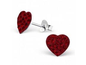 Strieborné náušnice srdcia - 925 kryštál svetlá siam MS2281-1