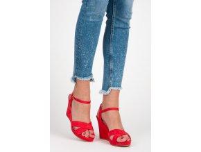 czerwone sandalki na koturnie 1062297824