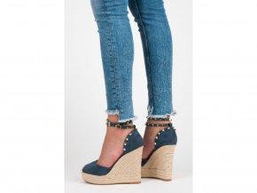 Perfektné modré semišové sandále s cvočkami - LL92JE