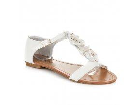 Ploché biele sandálky - L-32W