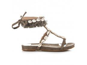 Sivé sandále s mušličkami 8225-18KH