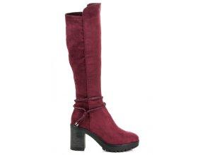 Klasické bordové čižmy Ideal Shoes ES8516WI