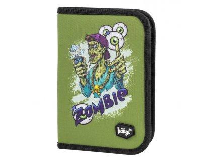 175672 3 baagl skolni penal klasik dve chlopne zombie zelena