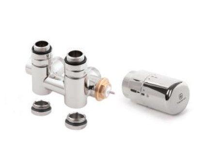 TERMA Sada - integrovaný ventil CHRÓM s T-kusom s možnosťou napojenia vykurovacej tyče cez ventil (Ventily ľavá verzia)
