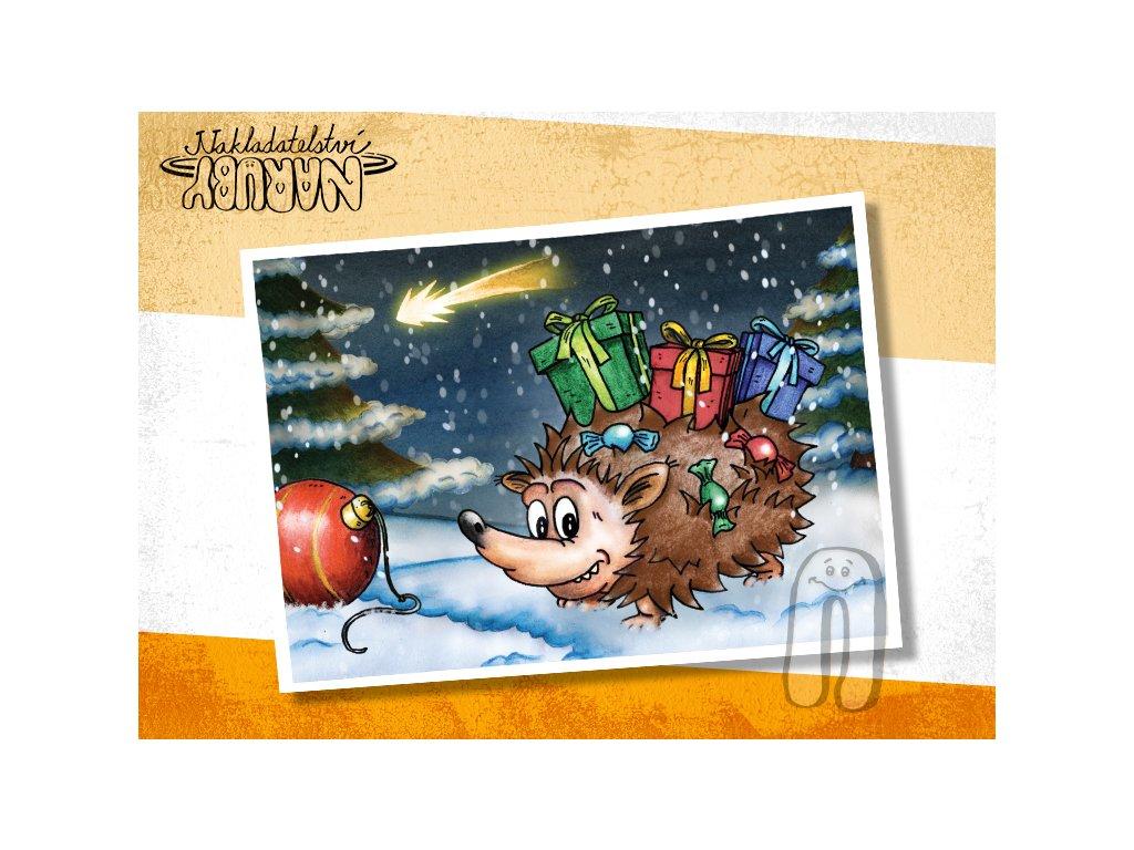 Prezentace pohlednic Ježíček v nočním lese