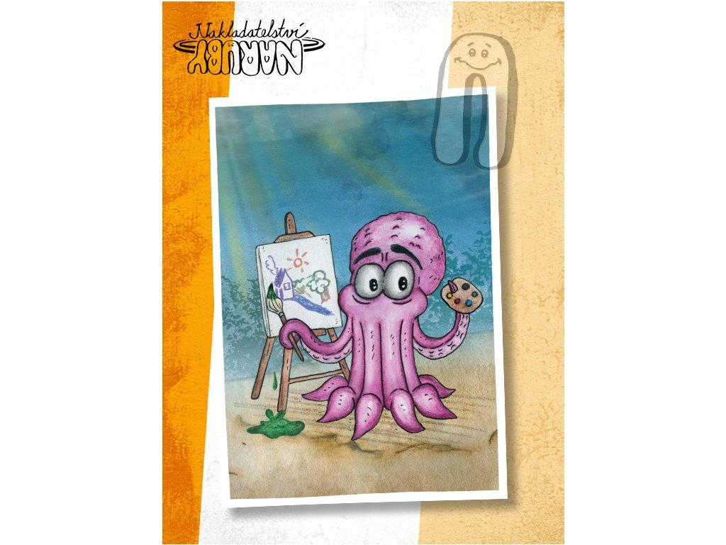 Prezentace pohlednic Malující chobotnice