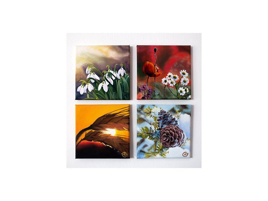 Roční období - sada 4 ks obrazů
