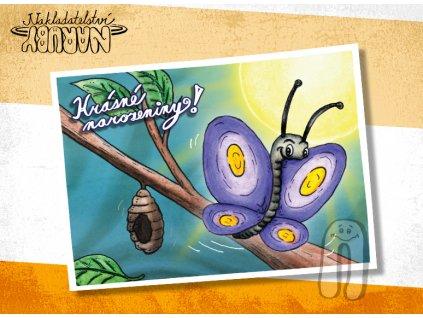 Prezentace pohlednic Motýl krásné narozeniny