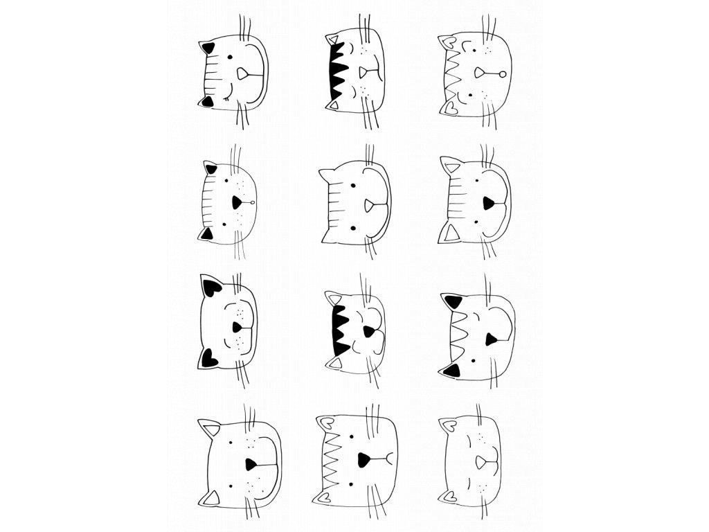 samolepky kočičky 3 hlavy