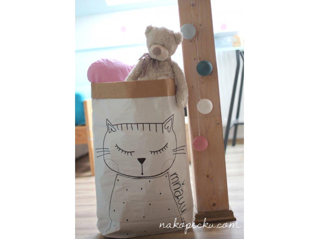 úložný papírový pytel - kočička spící