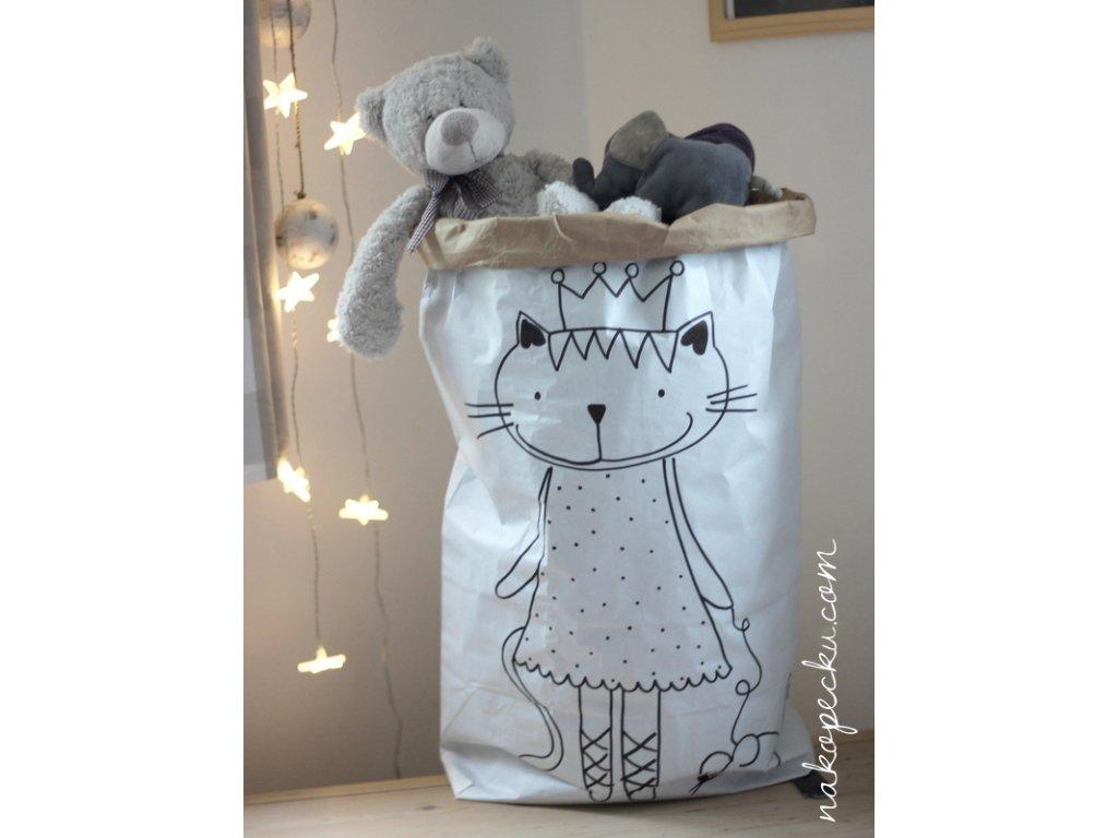 úložný papírový pytel - kočička s myškou