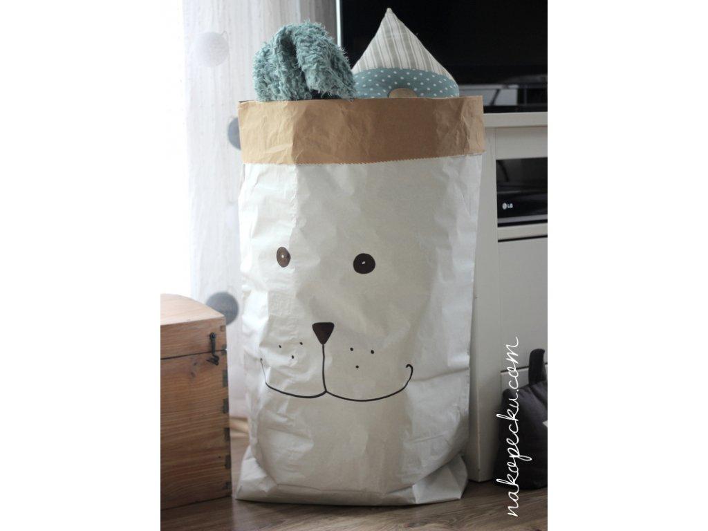 úložný papírový pytel - pejsek obličej