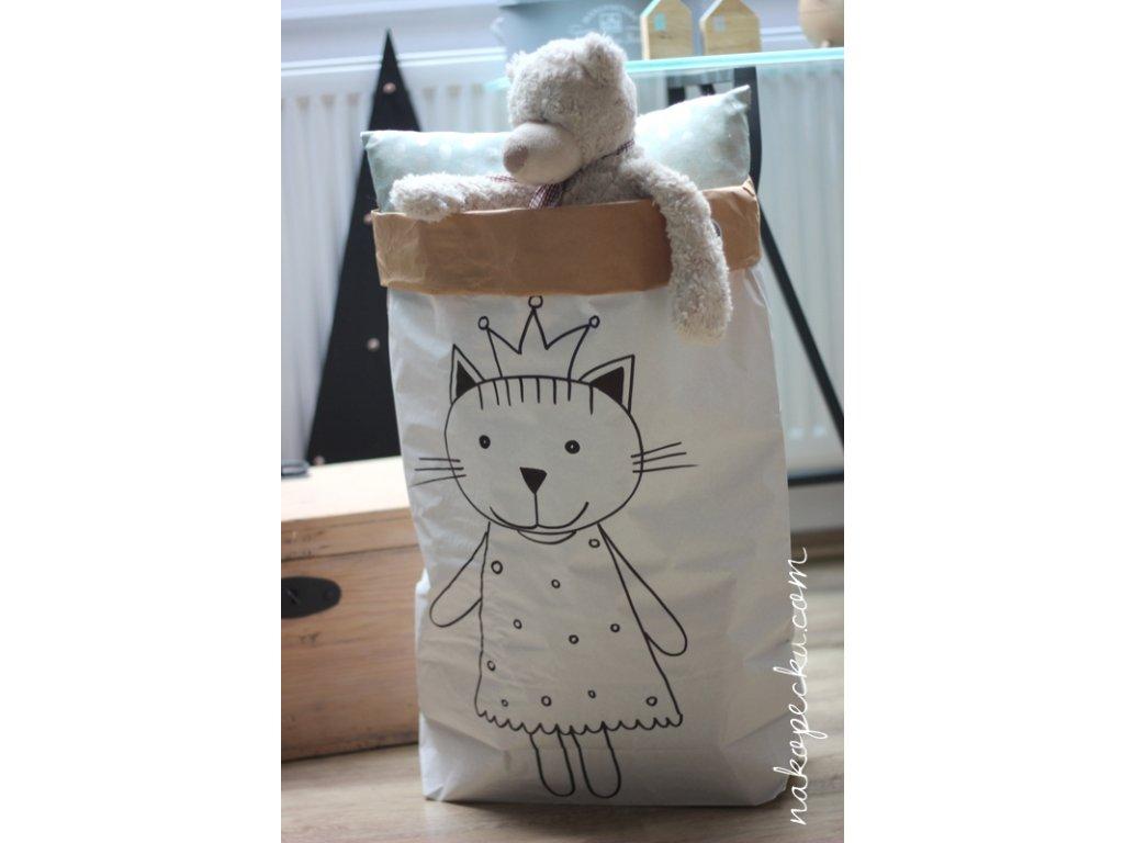 úložný papírový pytel - kočičí princezna