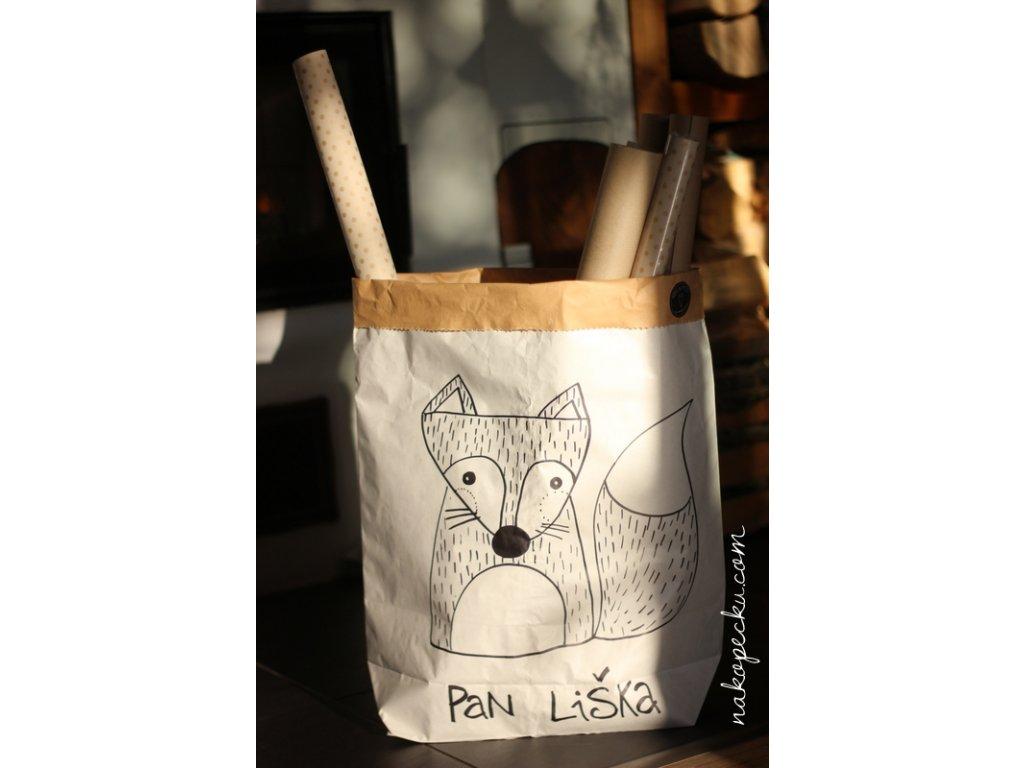 úložný papírový pytel - pan liška