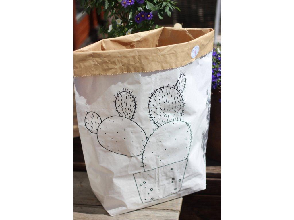 úložný papírový pytel - kaktus