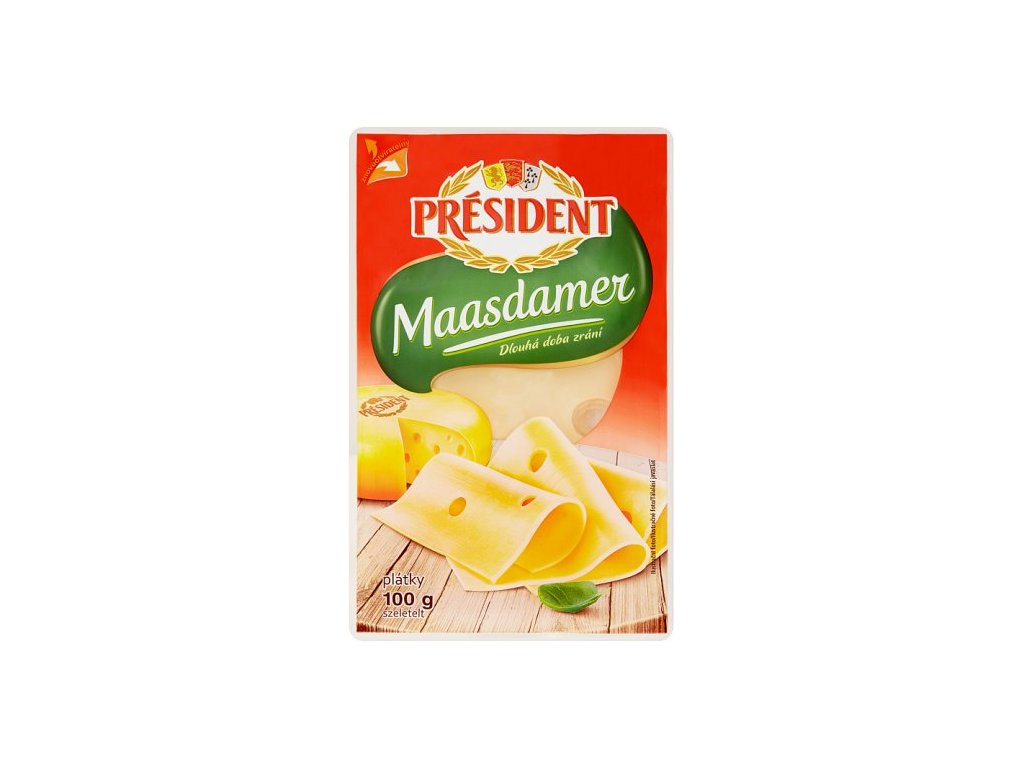 Président Maasdamer plátkový sýr 100 g