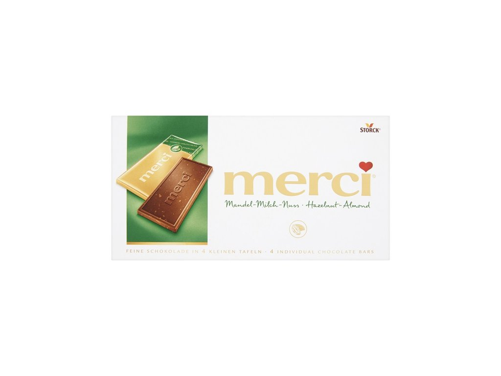 Merci Mléčná čokoláda s lískovými ořechy a mandlemi 112 g
