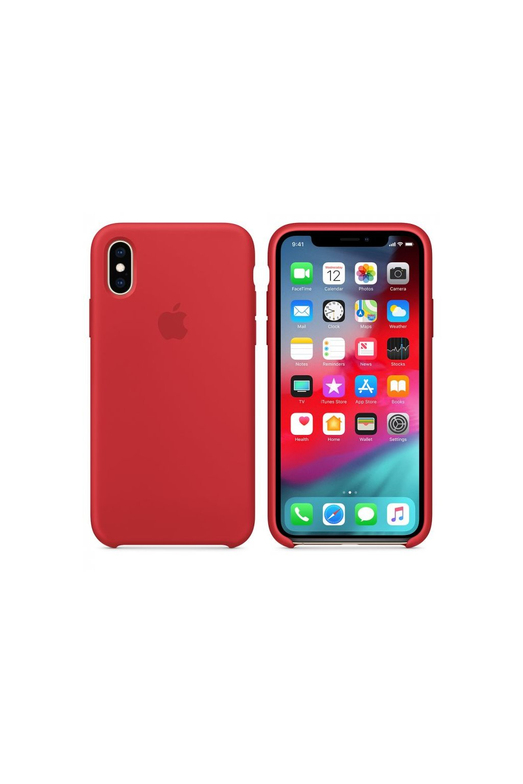 2963 iphone xs originalni silikonovy apple kryt red