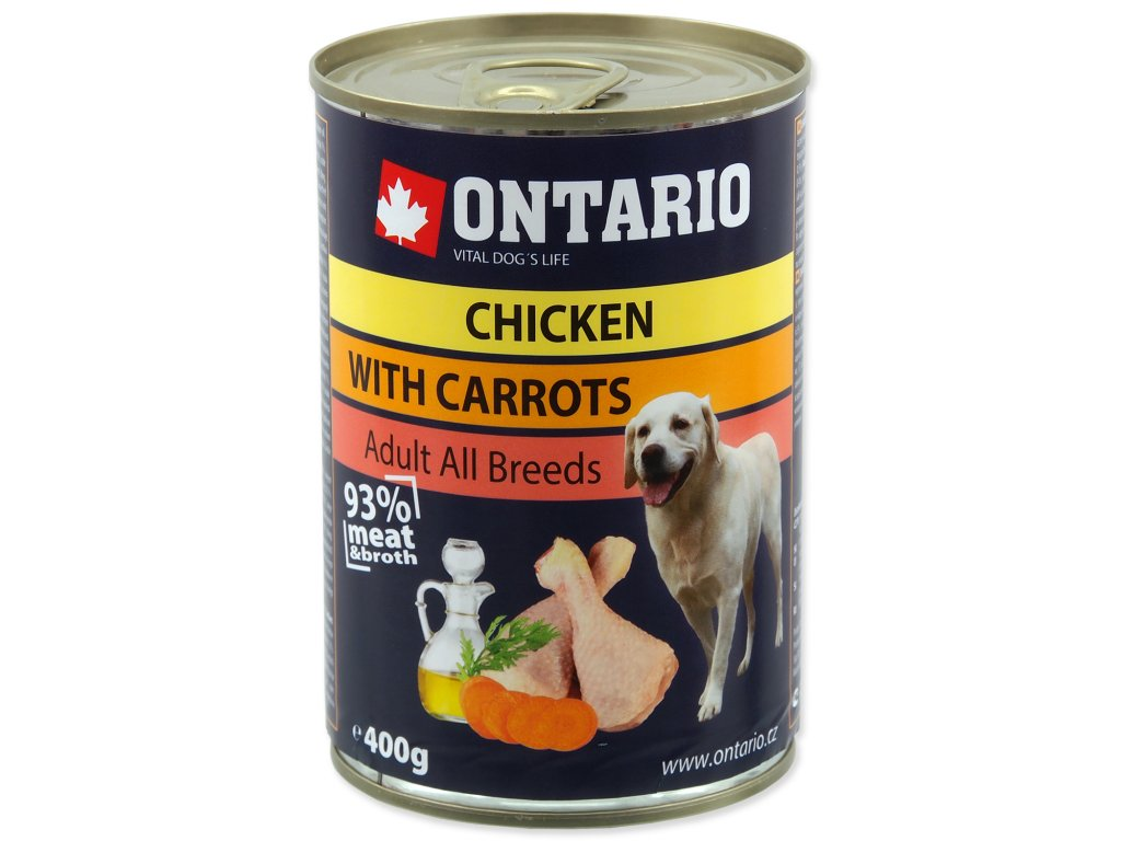 Konzerva ONTARIO Dog Chicken, Carrots and Salmon Oil