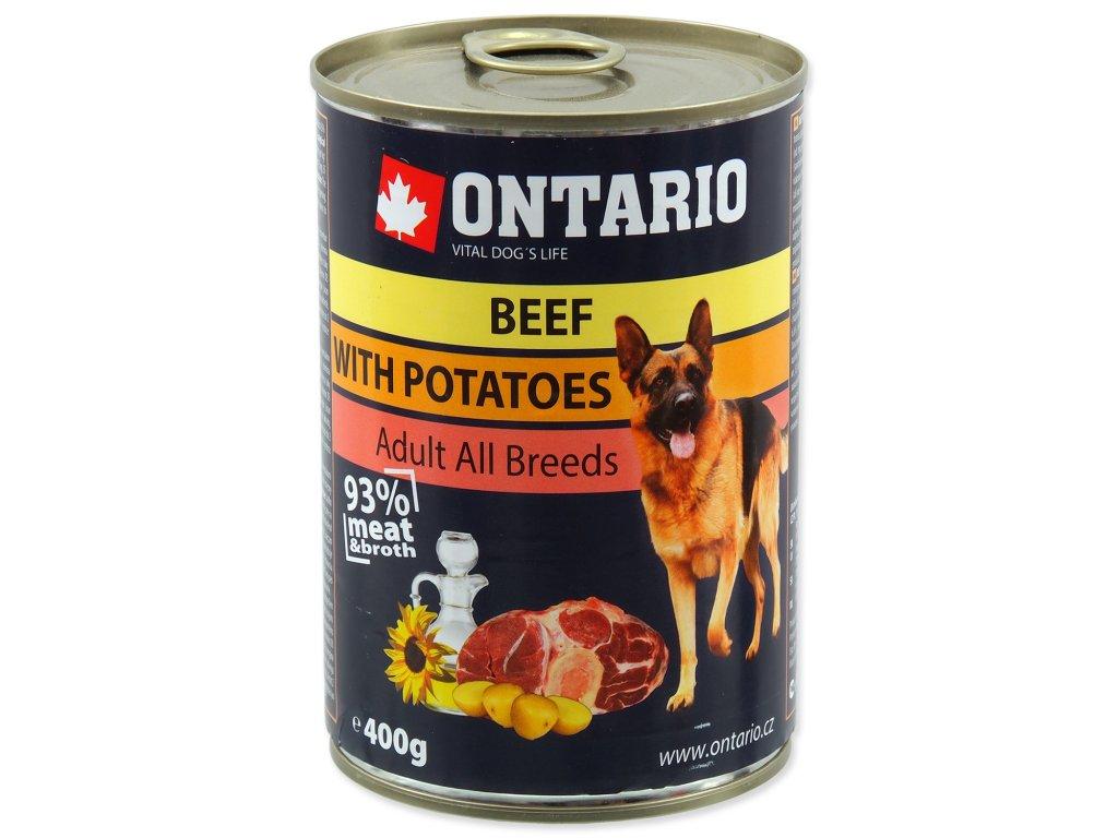 Konzerva ONTARIO Dog Beef, Potatos and Sunflower Oil