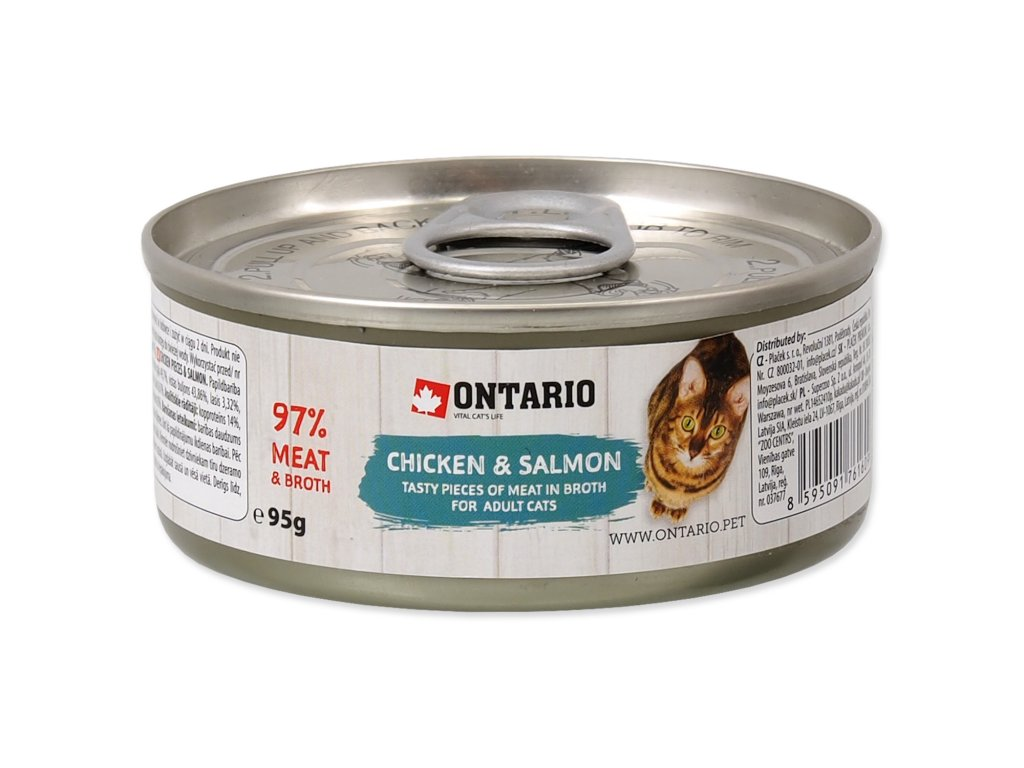 Konzerva ONTARIO Cat Chicken Pieces + Salmon 95g
