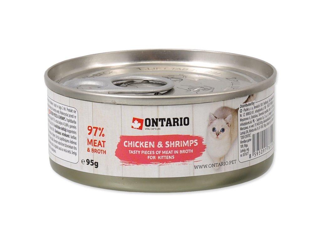 Konzerva ONTARIO Kitten Chicken Pieces + Shrimp 95g