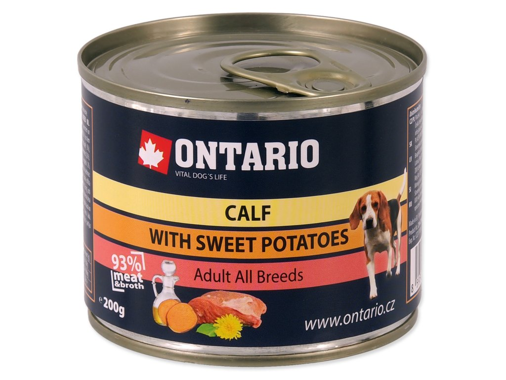 Konzerva ONTARIO Dog Mini Calf, Sweetpotato, Dandelion and Linseed Oil