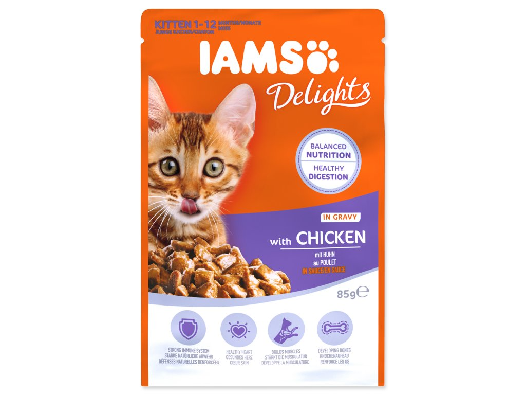Kapsička IAMS Kitten Delights Chicken in Gravy