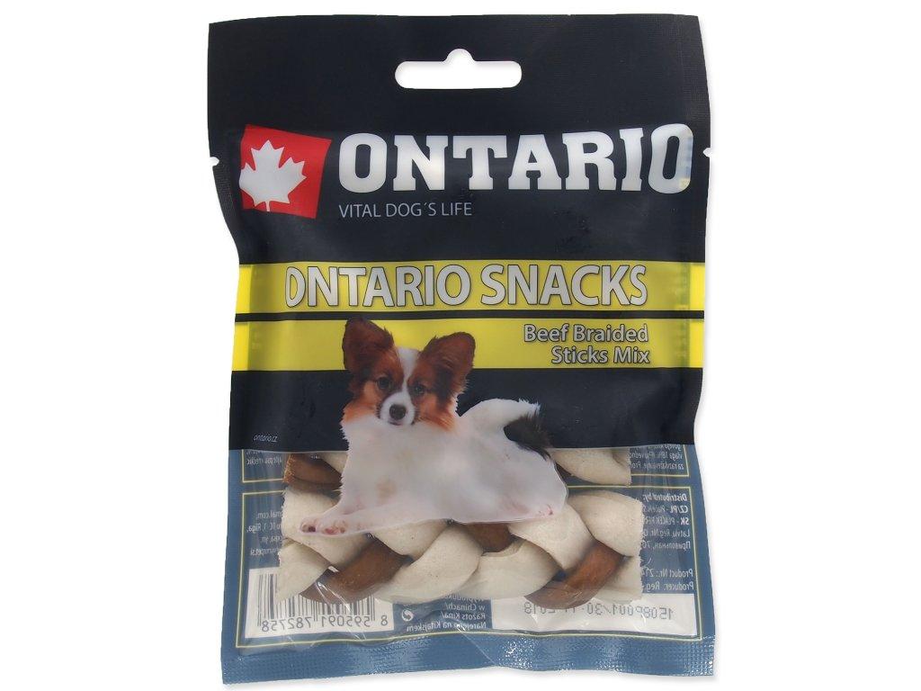 Snack ONTARIO Dog Rawhide Braided Stick Mix 7,5 cm